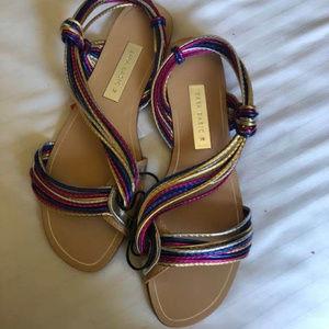 Zara Multicolor Strap Wraparound Flat Sandals 38